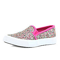 Girls multi glitter slip on plimsolls