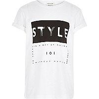 Girls white style print short sleeve t-shirt
