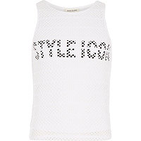 Girls white mesh style icon print tank top