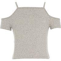 Girls grey cold shoulder top