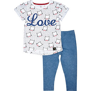 Mini girls love print t-shirt leggings outfit