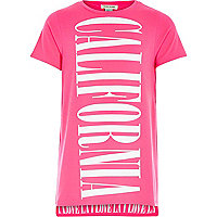 Girls pink California longer length t-shirt