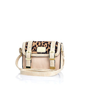 Girls brown leopard print satchel bag
