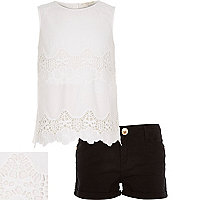 Girls white lace top and shorts outfit