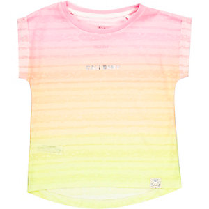 Mini girls yellow cali print t-shirt