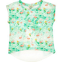 Mini girls green flamingo t-shirt