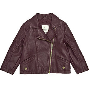 Mini girls red leather-look biker jacket
