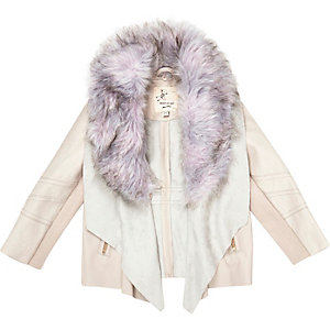 Mini girls cream leather-look jacket
