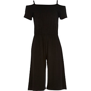 Girls black bardot culotte jumpsuit