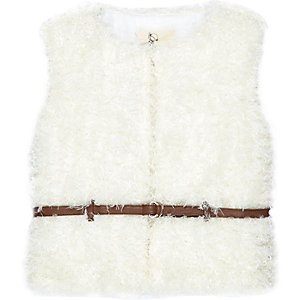 Mini girls cream belted fluffy gilet