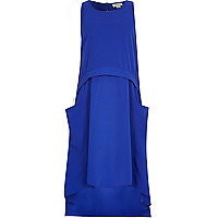Girls blue draped parachute dress