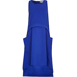 Girls blue draped parachute dress