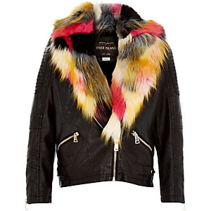 Girls black faux-fur collar biker jacket