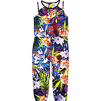 Mini girls purple tropical print jumpsuit
