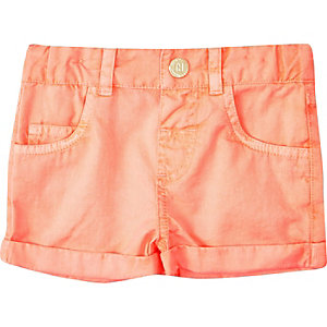 Mini girls fluro coral shorts