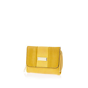 Girls yellow trifold purse
