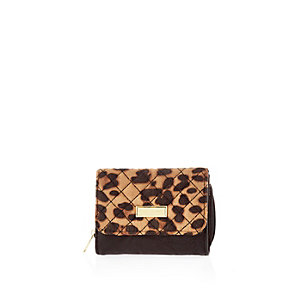 Girls brown leopard print trifold purse