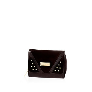 Girls black studded trifold purse