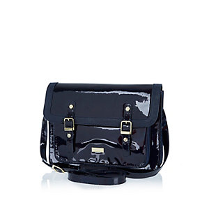 Girls navy large satchel bag