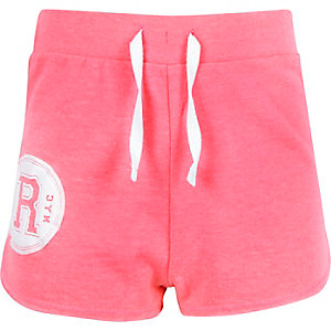 Girls pink R circle runner shorts