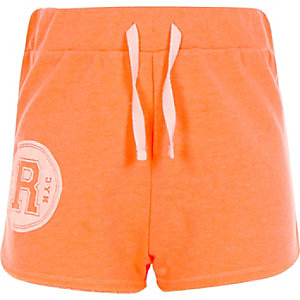 Girls coral R print runner shorts