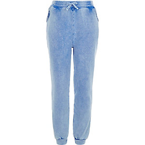 Girls blue crochet pocket joggers