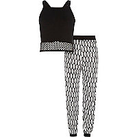 Girls black mesh top and joggers outfit