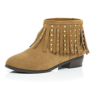 Girls brown leather fringed boots
