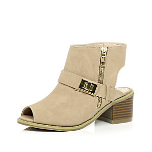 Girls cream cut out ankle boots