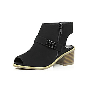 Girls black cut out ankle boots