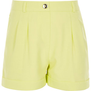 Girls lime green tailored shorts