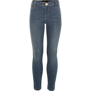 Girls mid wash smokey blue Molly jeggings