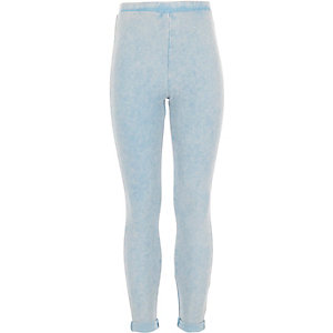 Girls light wash denim turn up leggings
