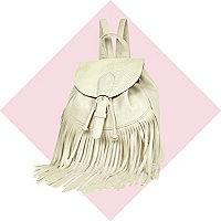 Girls cream fringed backpack