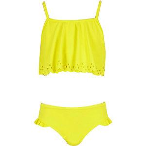Girls yellow laser cut frill bikini