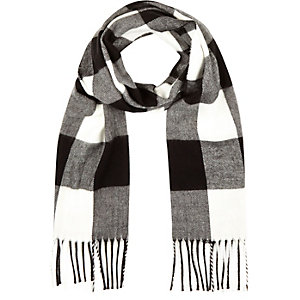 Girls black and white check scarf
