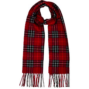 Girls red check scarf