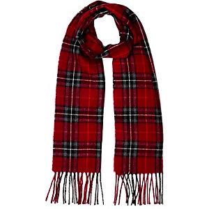 Girls red check scarf