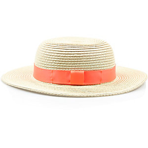 Mini girls straw floppy hat