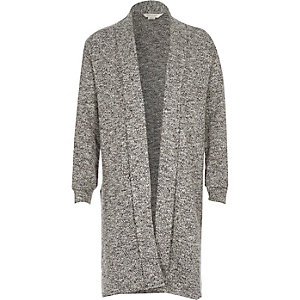 Girls grey marl side split longline cardigan