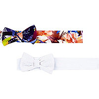 Mini girls mixed print bow hairband pack
