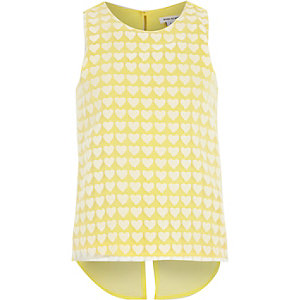 Girls yellow heart print vest