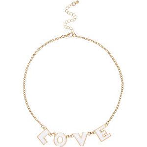 Girls silver tone love necklace