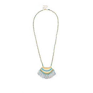 Girls blue suede tassel necklace