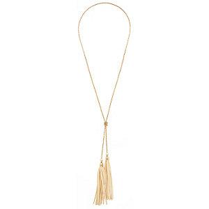 Girls cream suede tassel necklace