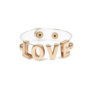 Girls gold tone perspex love bracelet
