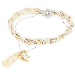 Girls cream tassel bracelet