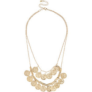 Girls gold tone coin layer necklace