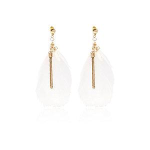 Girls pink feather earrings