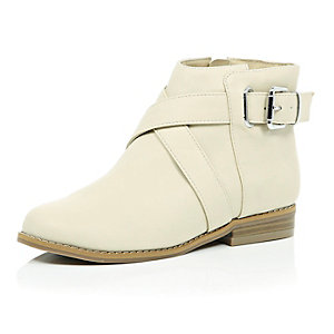 Girls cream strappy ankle boots